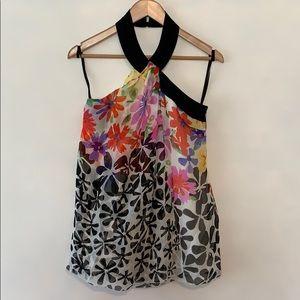 Worth Silk Floral Print Halter Neck Blouse